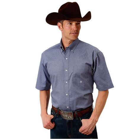 Roper Mens Purple Grey Print Short Sleeve Shirt