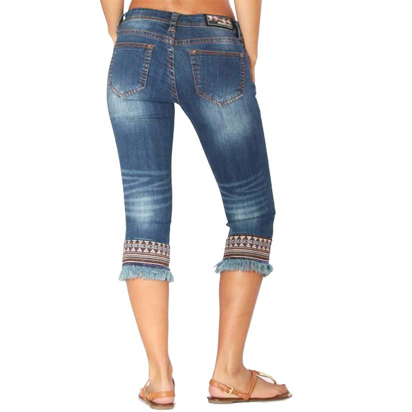Grace In La Womens Denim Aztec Embroidered Frayed Hem Capri Jeans