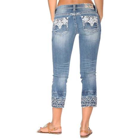 Grace In LA Womens Denim Aztec Embroidered Hem Capri Jeans