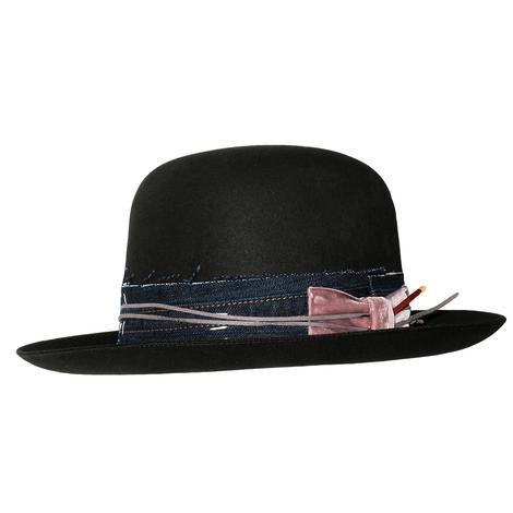 Greeley Hat Works Cache Felt Hat with Denim and Pink Velvet Hatband