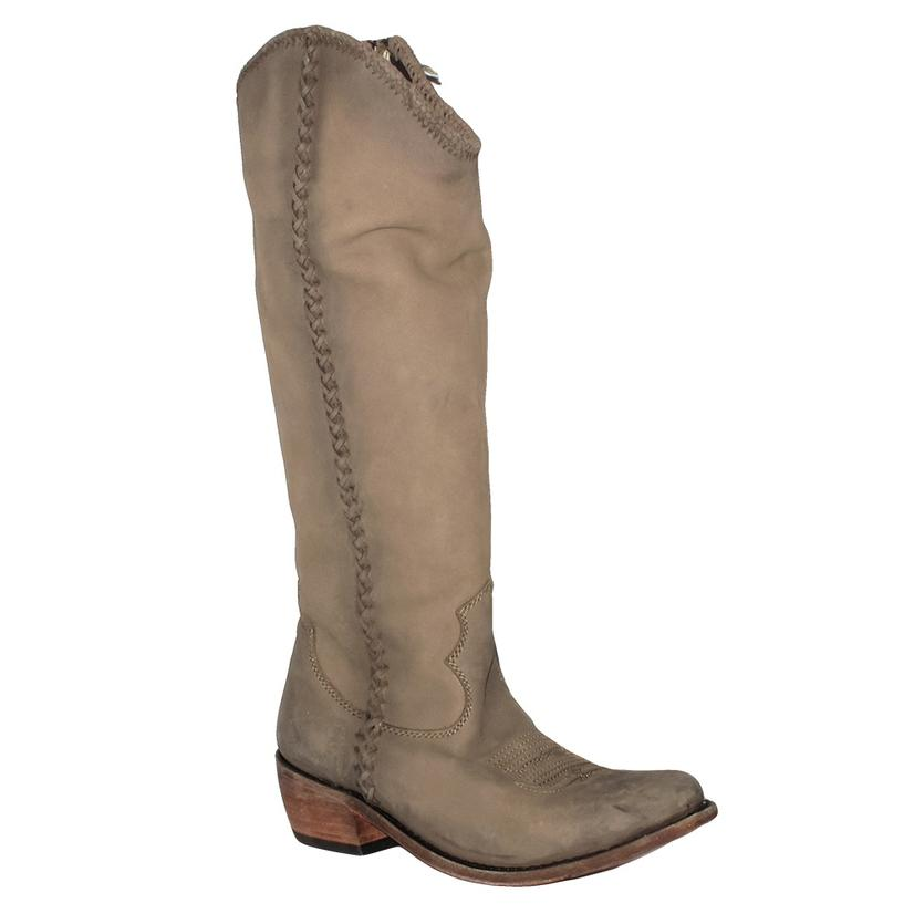 Liberty Black Womens Vegas Taupe Tall Riding Boot With Braid