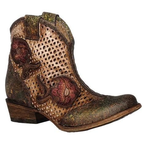 Corral Womens Green Embroided Roses and Cutout Shorty Boots