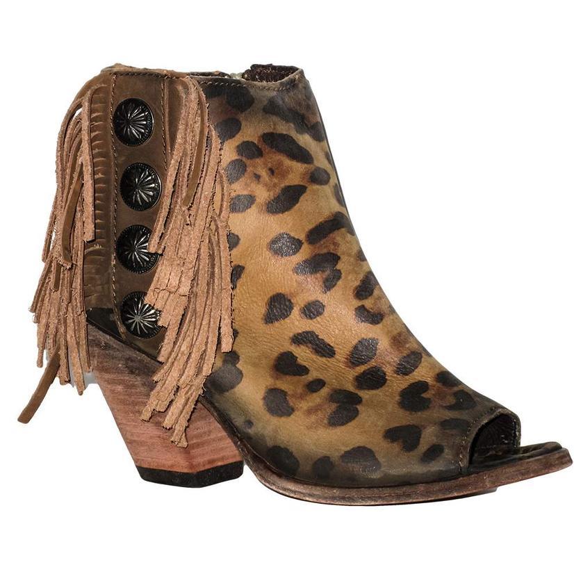 Liberty Black Womens Chita Miel Fringe Concho Open Toe Shoe