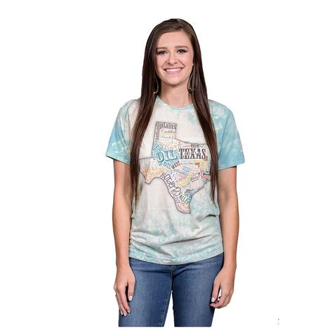 Texas Typography Neon Blue Bleached Womens Tee