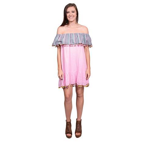 Off Shoulder Pom Pom Short Pink Womens Dress