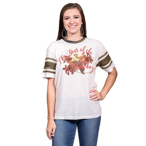 Cowboy Roper Cream and Camo Womens Football Tee