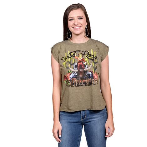 Wild Rose High Low Olive Womens Tee