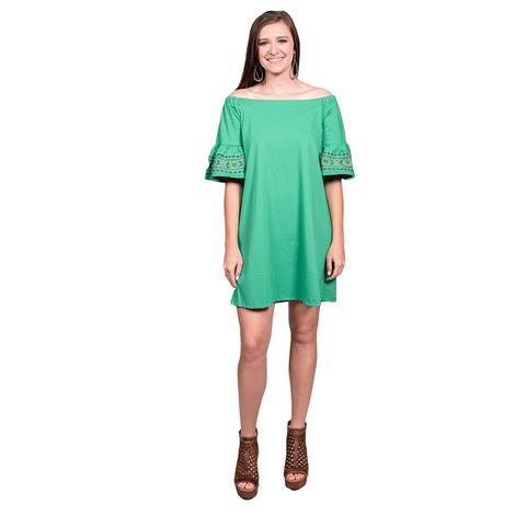Womens Off The Shoulder Bell Sleeve Green Dress