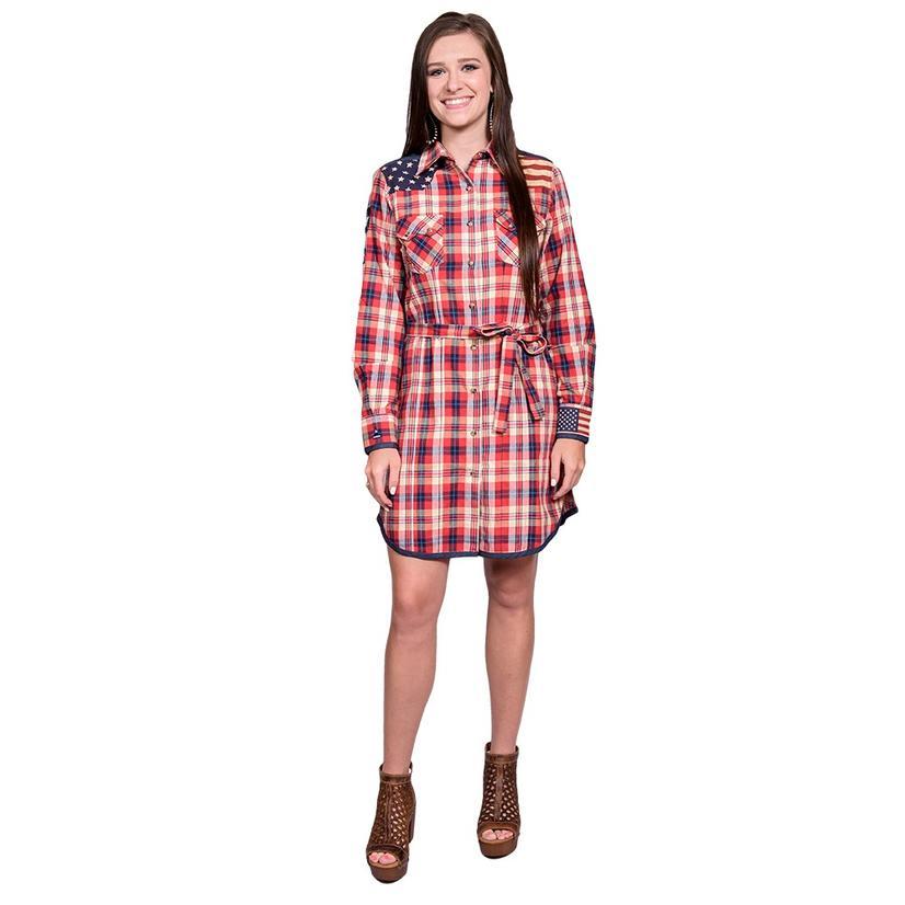 Tasha Polizzi Womens Liberty Plaid Button Down Tunic