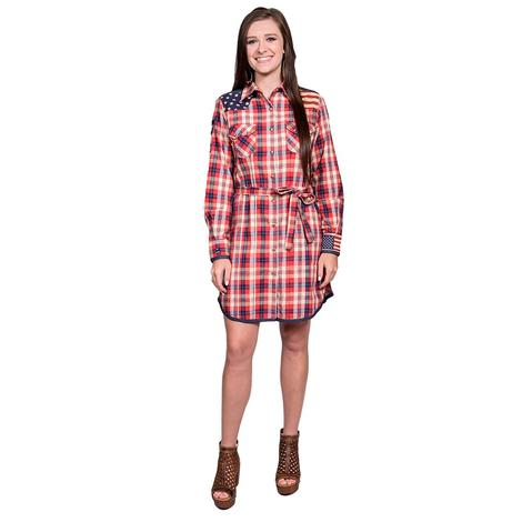 Tasha Polizzi Womens Liberty Plaid Button Down Tunic