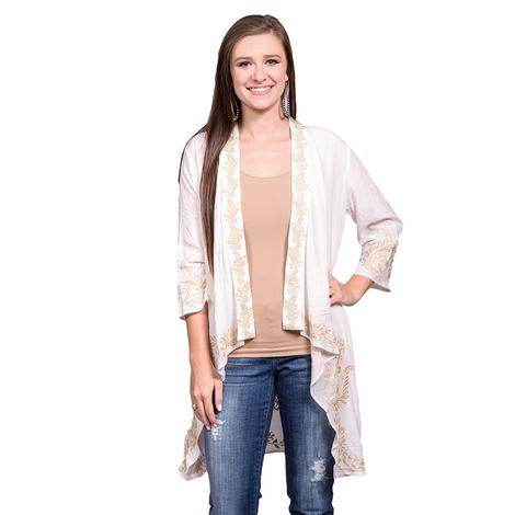 Womens Ivory Taupe Embroidered Mid Sleeve Cardigan