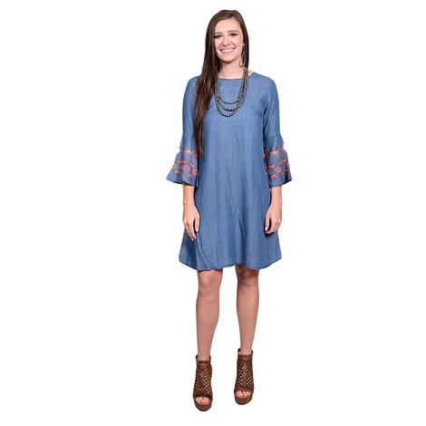 Womens Medium Blue Bell Sleeved Embroidered Dress