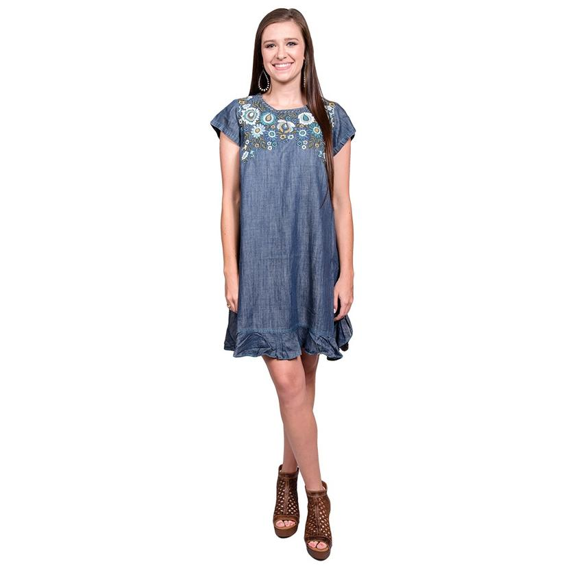 Double D Ranch Womens Cornflower Blue Kudzoo Embroidered Dress
