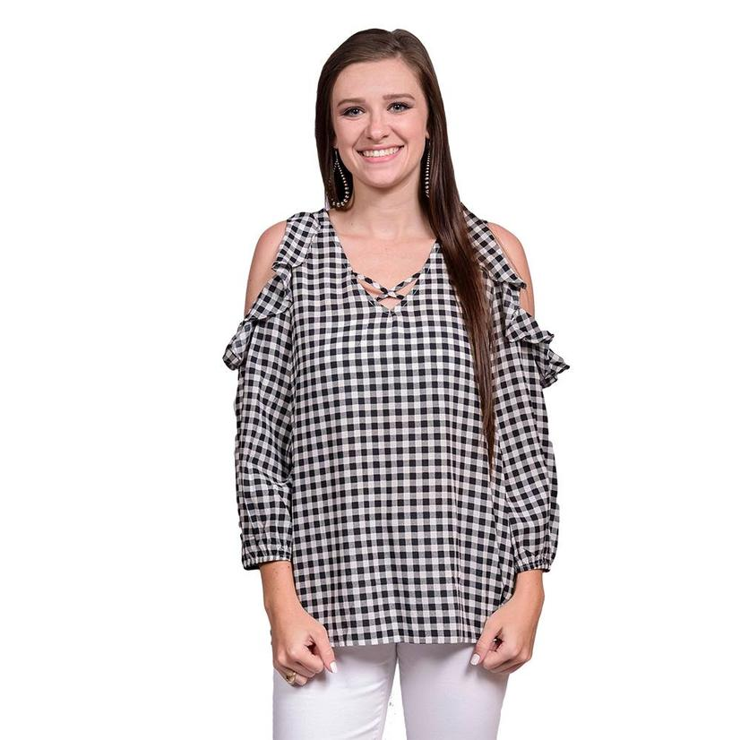 Womens Black And White Gingham Ruffled Shoulder Top