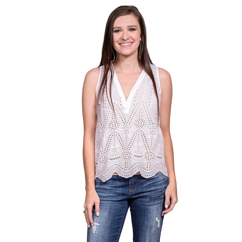 White Sleeveless Womens V- Neck Scalloped Eyelet Border Top