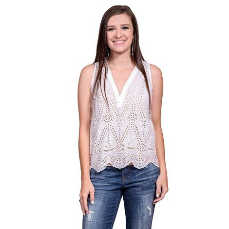 White Sleeveless Womens V-Neck Scalloped Eyelet Border Top