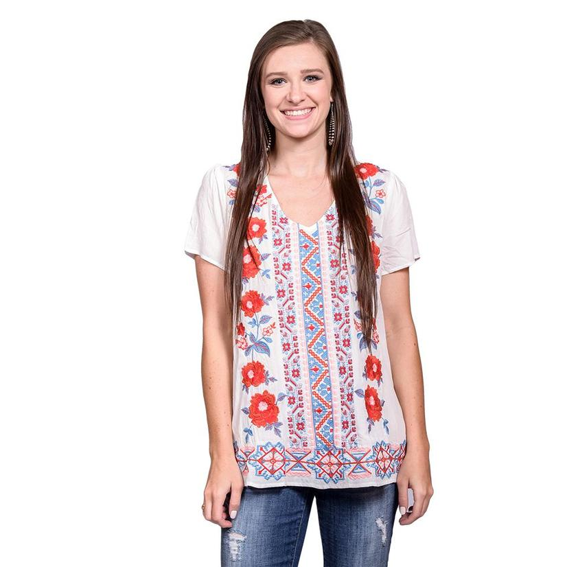 Womens Ivory Floral Short Sleeve Top