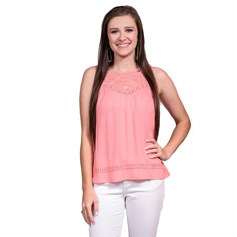 Roper Womens Coral Lace Tank Top