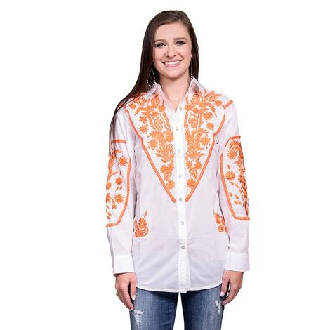 Womens White Long Sleeve Button Down Shirt with Orange Floral Embroidery