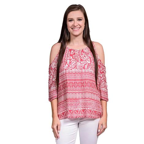 Ariat Womens Theresa Snow White Open Shoulder Top