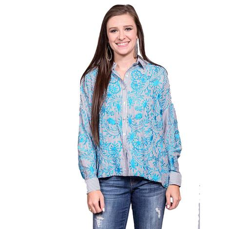 Womens Blue Long Sleeve Turquoise Embroidery Blouse