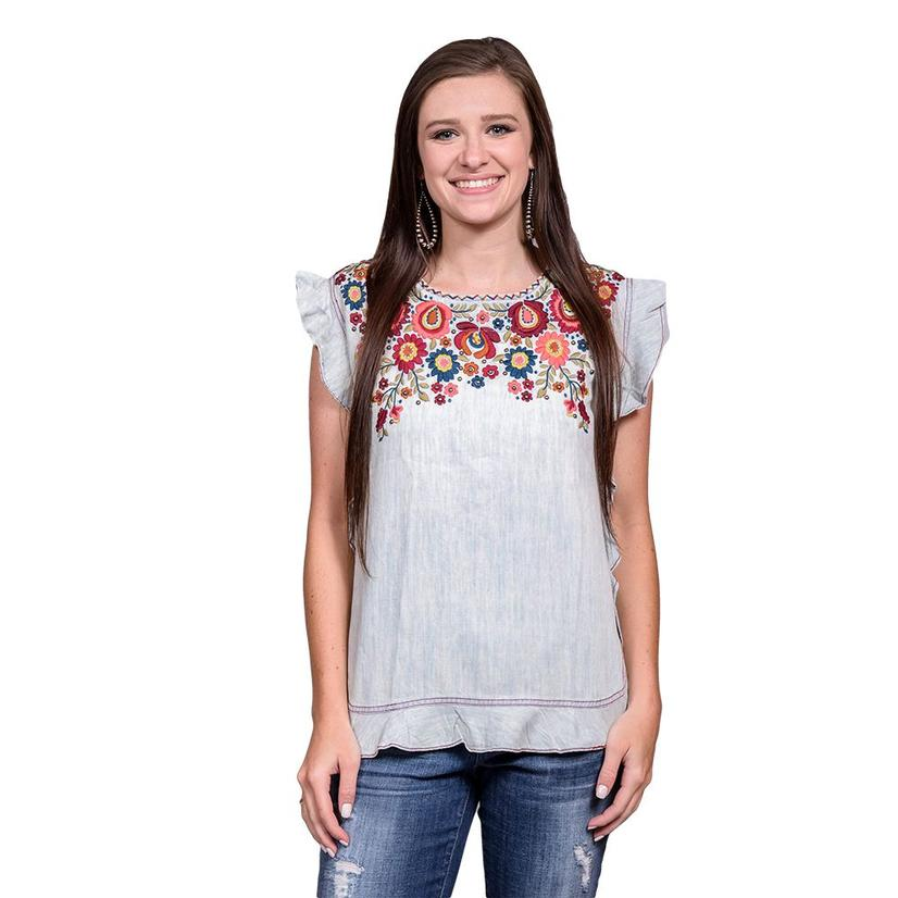 Double D Ranch Kudzoo Top Ruffled Sleeve Floral Embroidered Design Top
