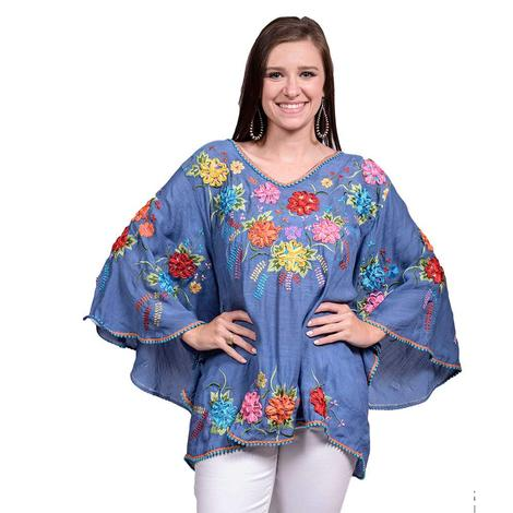 Womens Navy Multi Color Embroidered Poncho Top