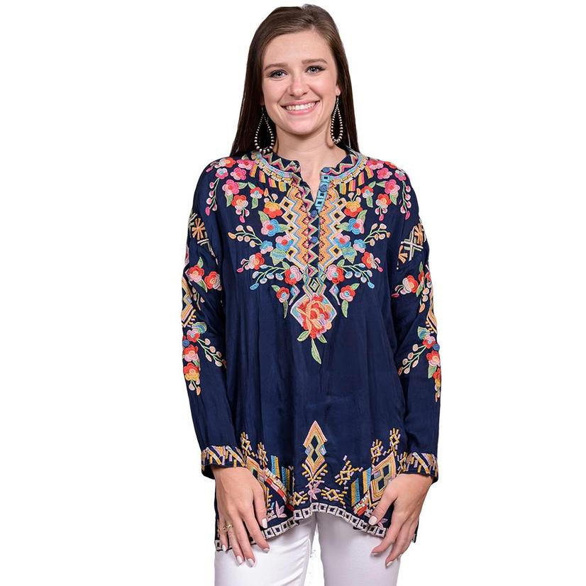 Johnny Was Womens Blue Night Long Sleeve Floral Embroidered Top