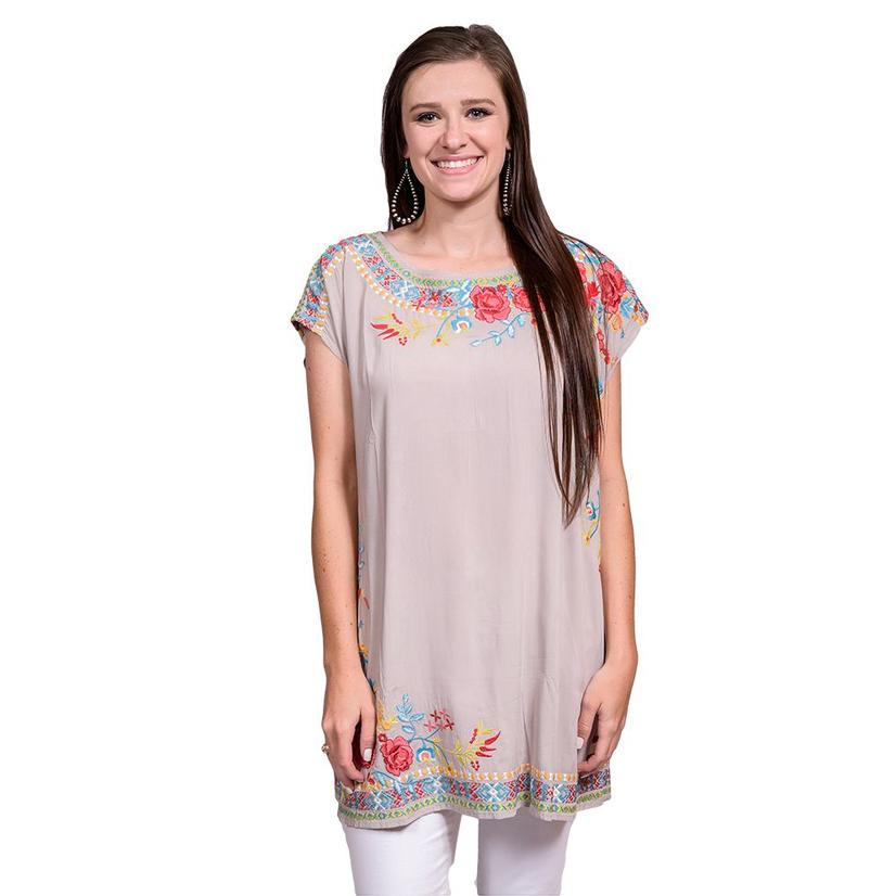 Womens Stone Floral Embroidered Cap Sleeve Dress
