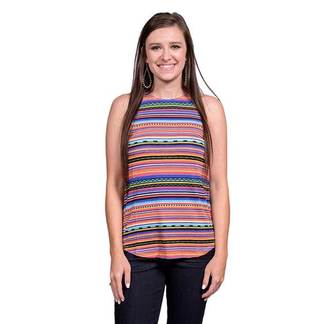 Rock and Roll Cowgirl Womens Serape Multi Color Tank