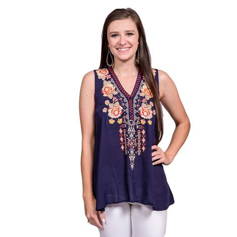 Womens Embroidered Roses Navy Sleeveless Top