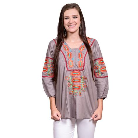 Womens Grey Red Embroidered Three Quarter Sleeve Top