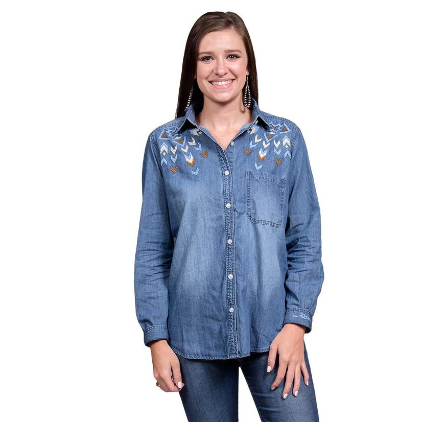 362ac4be Stetson Womens Snap Embroidered Denim Button Down Shirt