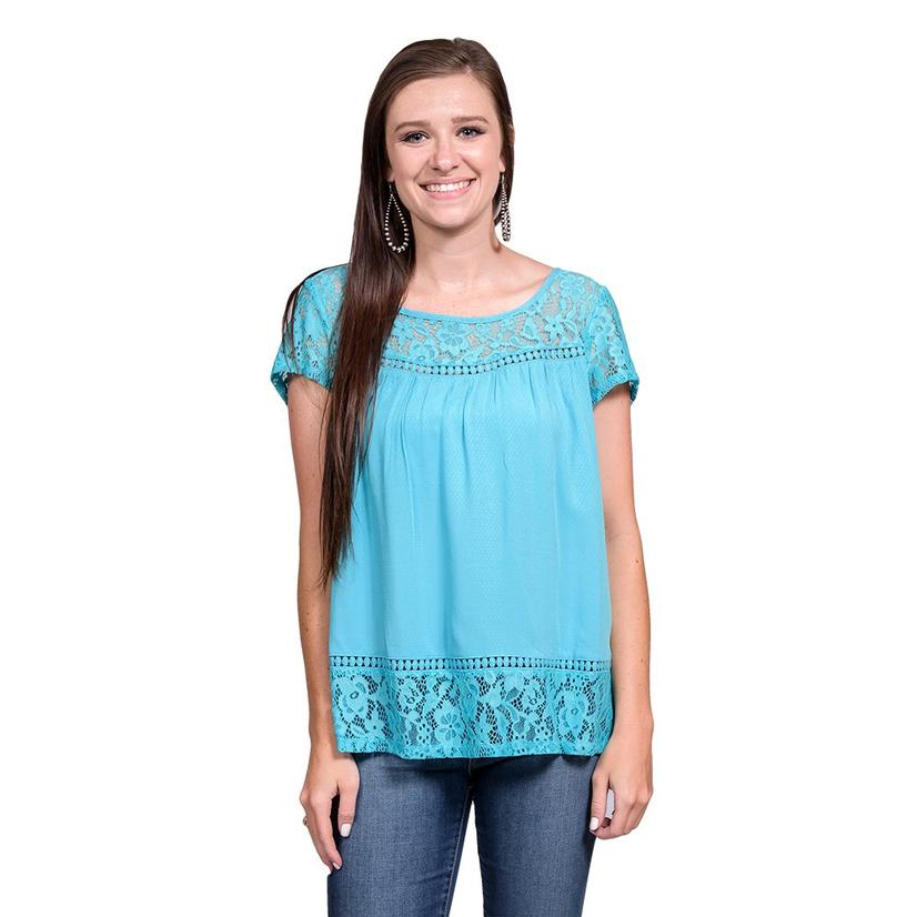 Ariat Womens Adena Maui Blue Short Sleeve Top