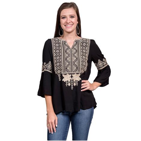 Womens Bell Sleeved Black with Ivory Embroidered Top