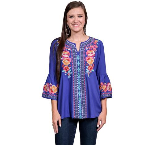 Royal Blue Womens Long Sleeve Floral Embroidered Blouse