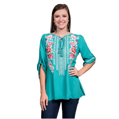 Womens Jade Foral Embroidered Mid Sleeve Top