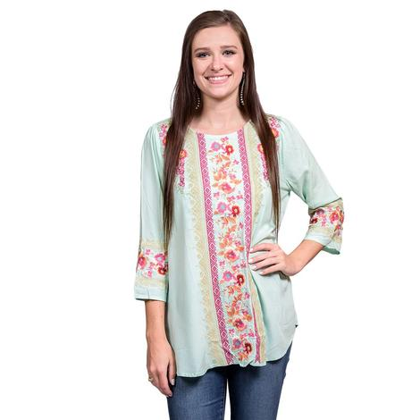 Womens Floral Mint Long Sleeve Blouse