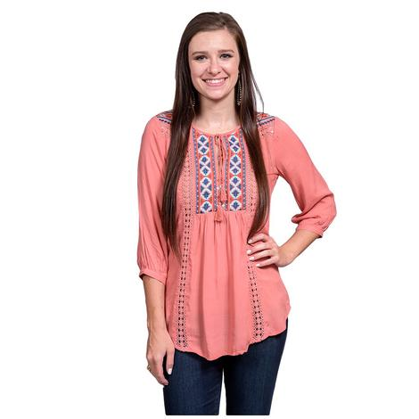 Roper Womens Peach Embroidered Three Quarter Sleeve Top
