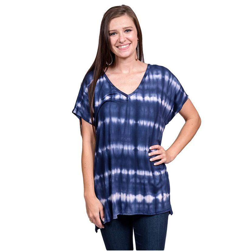 Womens Navy And White Short Sleeve Tye Dye Top