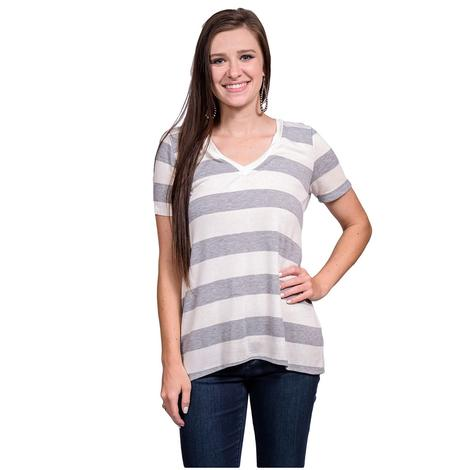 Grey and White Womens Striped Casual V-Neck Top