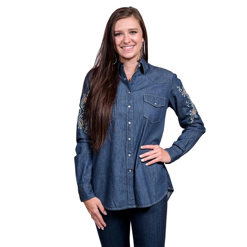 Cruel Girl Womens Denim Snap Top Embroidered Long Sleeve Shirt