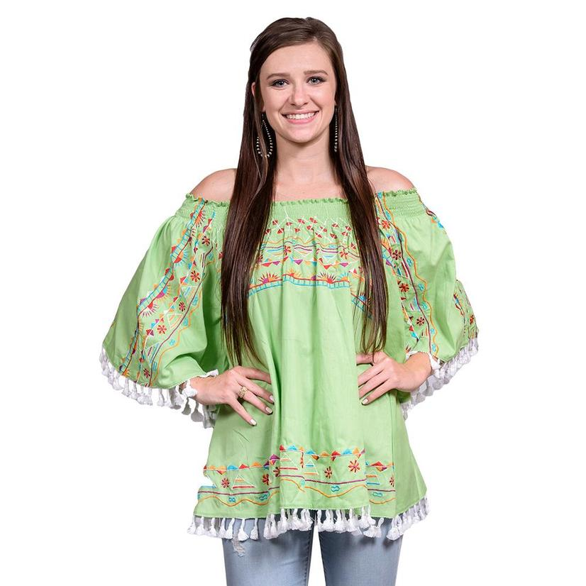 3e48560c0f50d7 Womens Lime Green Off Shoulder Floral Embroidered Tassel Blouse