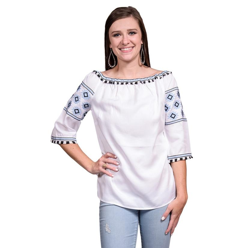Womens White Boatneck Mid Sleeve Top With Blue Embroidery Blouse