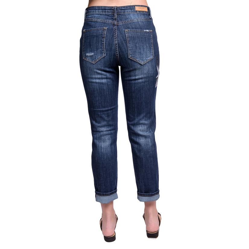 Grace In La Womens Girlfriend Fit Distressed Jeans