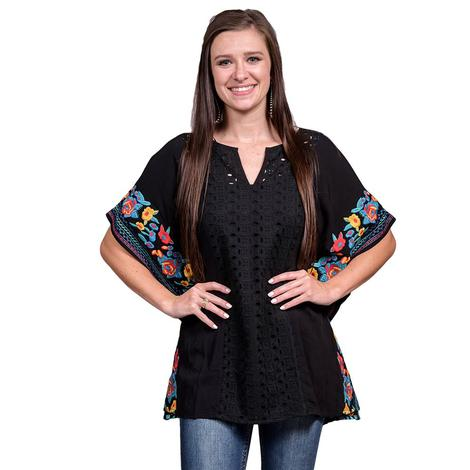 Eyelet Fronted Black Tunic with Bright Floral Embroidered Sleeves