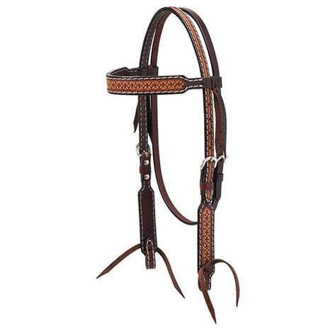 Geometric Tooled Browband Headstall Light Oil