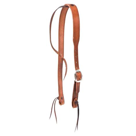 Harness Leather Cowboy Knot Ear Headstall 1.25in