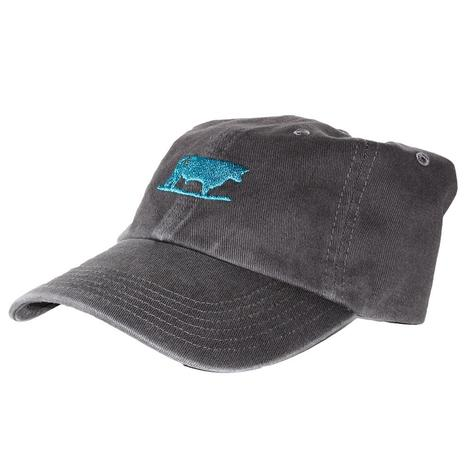 STS Ranchwear Charcoal Grey Cap with Turquoise Embroidered Bull