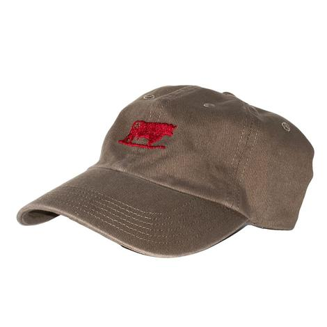 STS Ranchwear Khaki Cap with Red Embroidered Bull